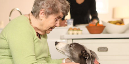 An elderly lady with her dog at home