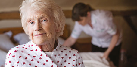 An elderly lady receiving overnight care at home